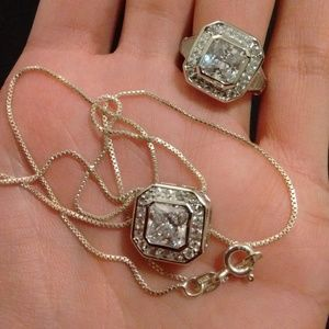New Princess Cut CZ Ring and Necklace Set .925
